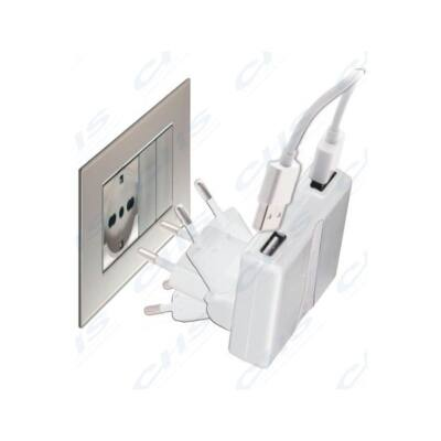 Cellularline Hálózati töltő, dupla USB Csatlakozóval, iPad / iPad Air / iPad mini / iPad mini retina, Kompakt